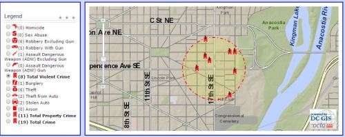 Violent Crimes w/in 1500 feet of 17th and Independence in the last 30 days