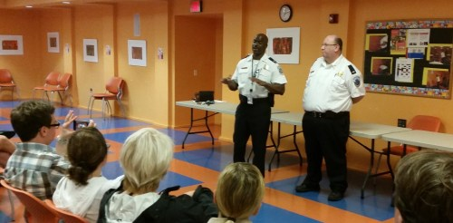 MPD 1st District Commander Jeff Brown and Lt. James Dykes take residents' questions on crime
