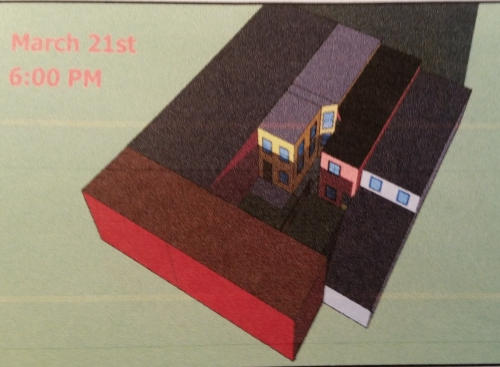 11th Street residents' study showing effect of the extension on sunlight at 6:00pm on March 21