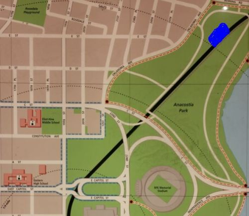 The blue area in the upper right marks the location of the market, accessed at the entrance off of Oklahoma Avenue.