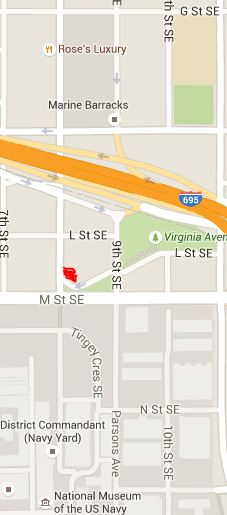 The red area locates the new location on lower 8th Street, across from the Navy Yard to the south and the Blue Castle to the west.