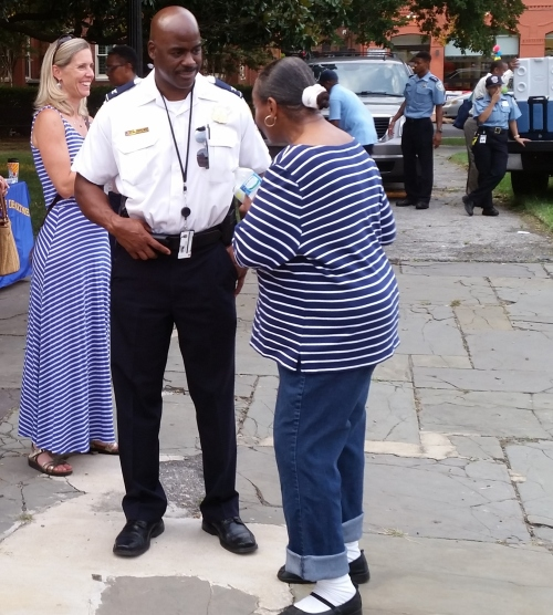 First District Commander Jeff Brown engages residents on National Night Out, August 4, in Folger Park