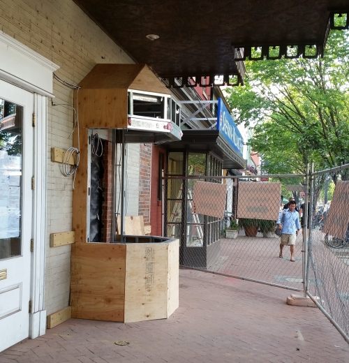 The ticket booth for the Miracle Theater in the Community Church on Barracks Row started to take shape.