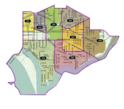 Finally, here's a map of the MPD First District PSAs.  The PSAs can be an effective part of community policing but some have fallen into meaninglessness owing to lack of community participation and ineffective MPD outreach.