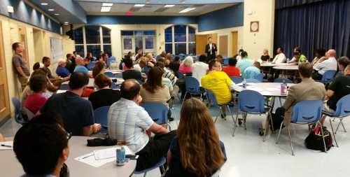 Some 60 residents turned out for last night's ANC6A meeting and education forum at Miner School.  Councilmember Charles Allen - standing - attended and discussed his efforts to restore funding for Ward Six school to the city's budget.