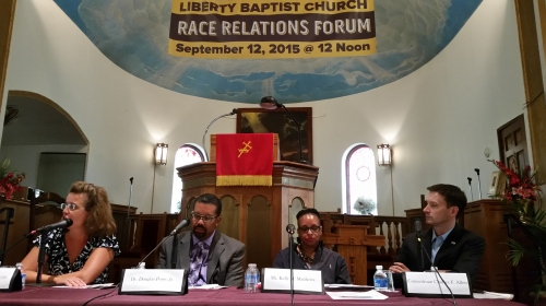 Race Relations Forum Panelists, (l-r), Denise Krepp, Dr. Douglas Powe,, Jr., Kelly M. Matthews,. amd CM Charles Allen