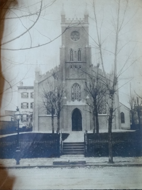 Christ Church in the early 20th Century.  Note gas street lights.