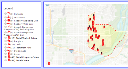 Property Crime in PSA 108 from August 17, 2015, to September 16, 2015