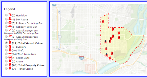 Violent Crime in PSA 108 from July 18, 2015, to August 16, 2015