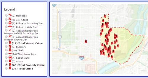 Property Crime in PSA 108 from July 18, 2015, to August 16, 2015