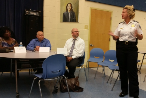 MPD Assistant Chief Diane Grooms addresses ANC6A and residents on crime issues on or near H Street, NE