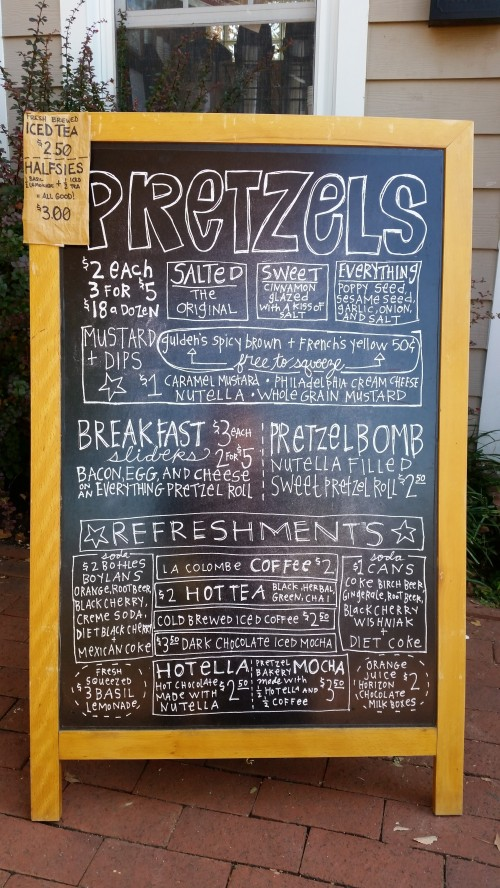 The Pretzel Bakery's Current Menu
