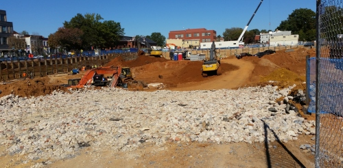Photo of on-going construction on the Hine redevelopment project.