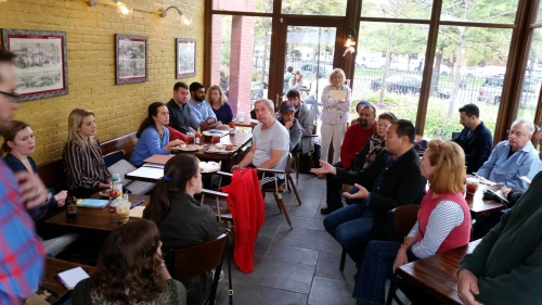 Citizens for a Safe Capitol Hill met this afternoon at Bayou Bakery.  Organizer Sarah Stumbergs is on the left in striped shirt.