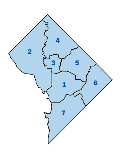The 6th District lies across the Anacostia River.  Councilmember Charles Allens Ward Six contains all of the 1st MPD District and parts of MPD Districts 3 and 5.