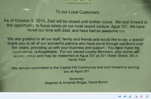 This surprise announcement was posted this morning on the front of Zest Bistro at 735 8th Street.