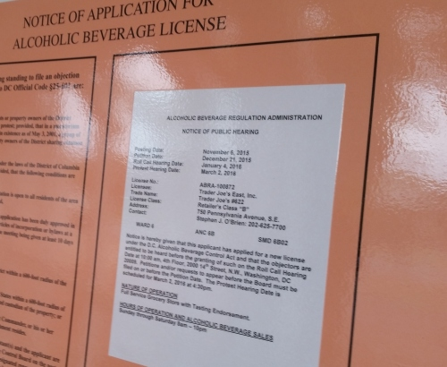 Looks like Trader Joe's application for a liquor license for the Hine site outlet will be before the ANC next month.