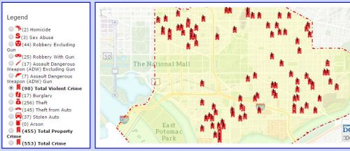 District One Crime Map Most Recent 30 Days Oct 18 - Nov  17
