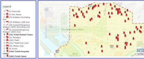 District One Crime Map Previous 30 Days Sept 18 - Oct  17