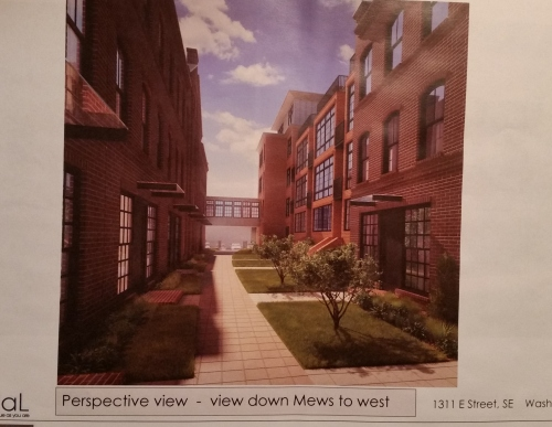 "View looking west through the ""Southern Courtyard.""  Residents and public will have access from the entrance opening onto the the narrow alley that bisects the block north to south."