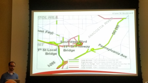 DDOT projects much less traffic on neighborhood streets if the proposed SE Boulevard is four lanes.