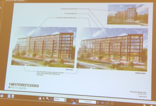 View of project looking Southwest.  Renditions showing May 28 version (left) and current version (right).