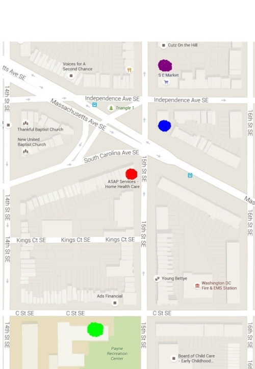 Map showing location of proposed clinic (red), 7-11 (blue), CAG (purple) and Payne School (green)