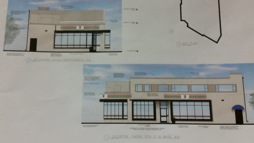 Elevations of proposed 7-Eleven showing view from Independence and from 15th Street (lower)
