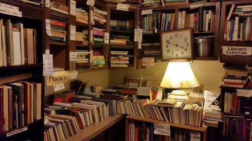 The second floor Poetry Corner of Capitol Hill Books, 657 C Street, SE, across from Eastern Market