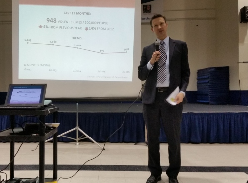 Councilmember Allen addresses the DC Safety Network Coalition at it's first public meeting last night