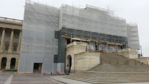 Stonework preservation begins on the Senate Wing of the U.S. CapitolBuilding's East Front