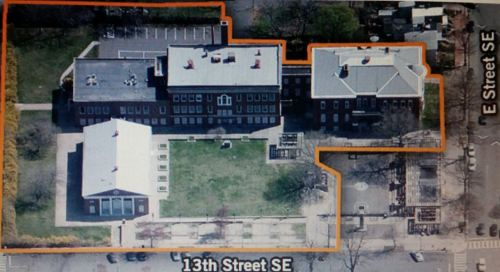 "This was the layout of the Buchanan site before demolition began this week.  The newer structure on the lower left has been demolished, as seen in the photo below.  The non-historic auditorium to the left of the center building will be demolished.  The two remaining historic buildings will be converted to condos.  Subscribers to the newhilleast listserv can find a post on the history of the Buchanan site by Hill East resident/activist, Jim Myers, posted on Sunday, titled:  ""Our Land of Broken Dreams"".  That piece is reprinted below ""The Week Ahead"" entries, below."