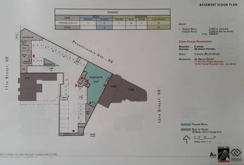 Basement.  An additional 3340 square feet for Frager's, 36 parking spaces - one for each condo plus 2 for retail