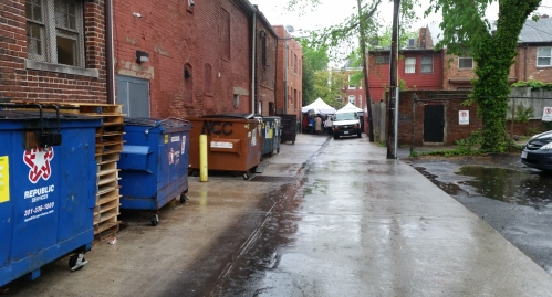 The alley on the west side of the 500 block of Barracks Row seldom looks this clean, having been spruced up prior to the Mayor's arrival
