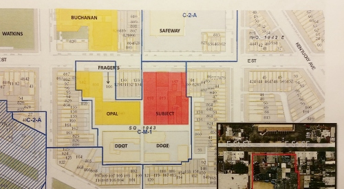 The three developments near Southeast Safeway. The Bowie site development is in red.