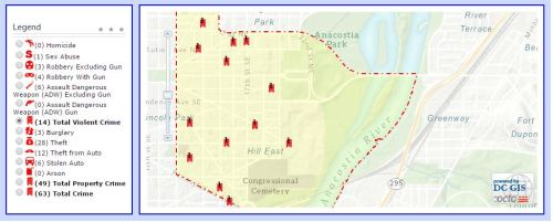 Crime Map for last 30 days in PSA 108 - not reflected are three violent crimes in the past 24 hours