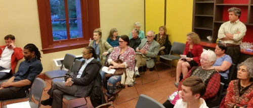 Some members of the audience at Monday's meeting.  Standing at rear is Bobby Coffey, representing Aquila Recovery, a new substance abuse recovery program coming to the office space above the 8th and PA Starbucks.  The private pay outpatient clinic treats clients referred by personal physicians.