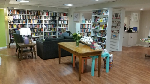 The downstairs reading nook at East City Book Shop