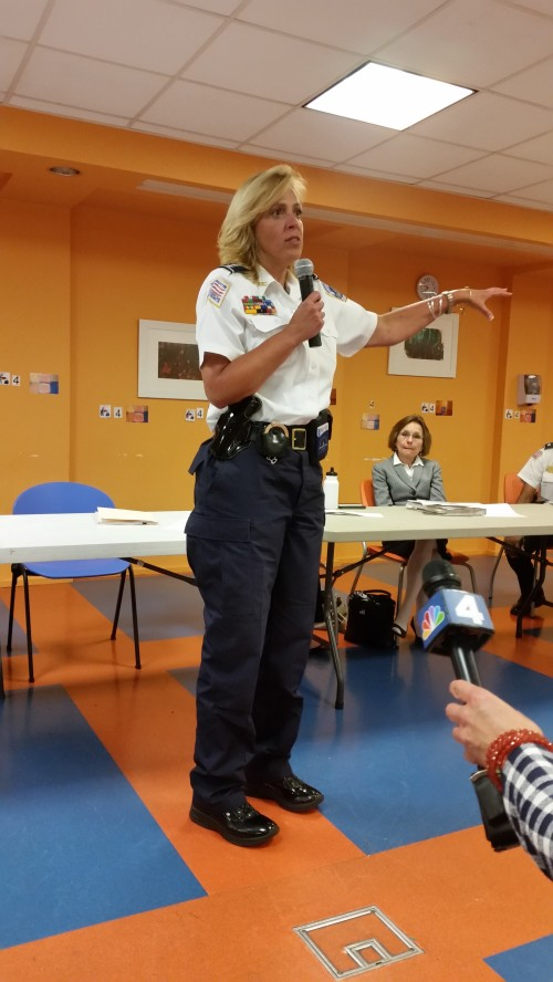 Chief Cathy Lanier addresses the Hill East community last night at St. Coletta's