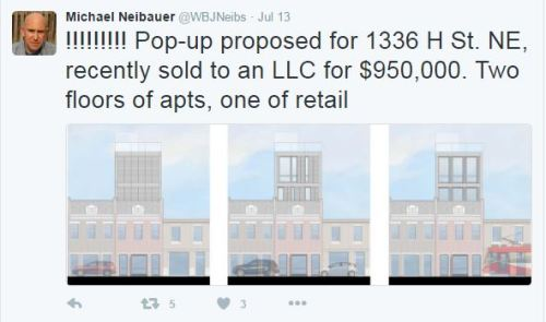 Michael Niebauer, Washington Business Journal tweeted out this alert on July 13.  Images apparently represent possible elevations for the proposed pop-up at 1336 H Street, NE.  Follow Neibauer here: https://twitter.com/WBJNeibs