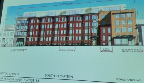 Capitol Courts - mixed use project planned for 1200 blocks of PA Ave SE - South Elevation