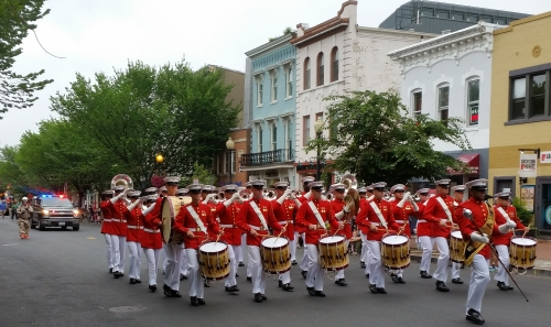 The Marine Corp Band lead the parade, here playing the Marine Hymn as it passed the Marine Barracks