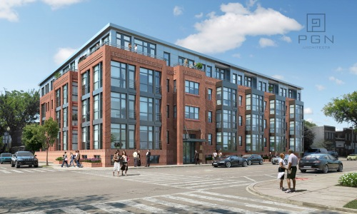 PGN Architect's rendering of Madison Investment's 49 unit condo project at 11th and I Streets, SE.  Image courtesy of PGN Architects.
