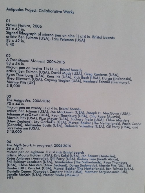 A list of the artist collaborators on the project.
