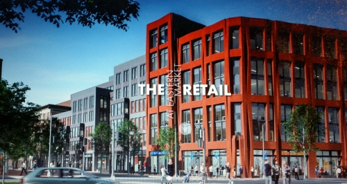 View of the 7th Street side of the Hine Project,  looking Northeast.  Image from At The Market website, see link below.