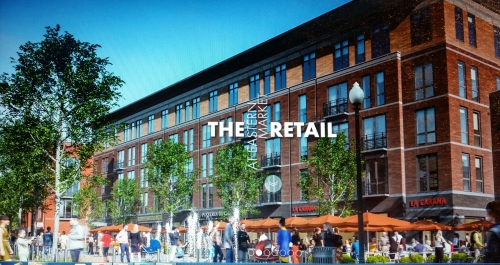 View of the Affordable Housing Component (North Building) of the Hine Project, with First Floor Retail.  Image from At The Market  website - see link below.