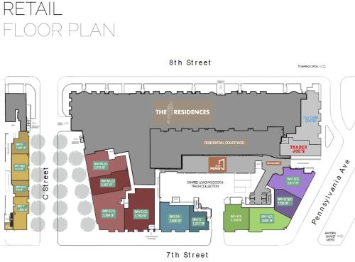 Image of the First Floor Retail Space Plan for the North and South Building.  Image from At The Market website - see link below.
