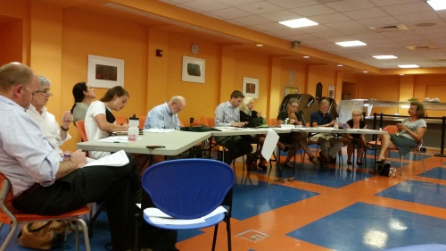 ANC6B's Planning and Zoining Committee, chaired by Nick Burger (center, in checkered shirt), met Tuesday night and took umbrage at the DGS blow off.