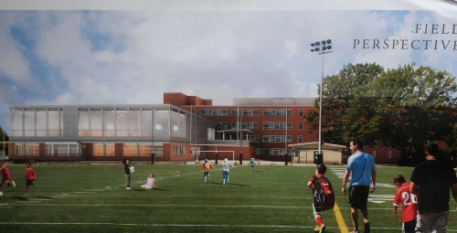 View from the playing field on the east side of the school.