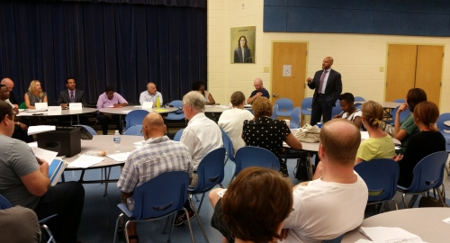 "Councilmember ""Elect"" Robert White at last night's ANC6A meeting"
